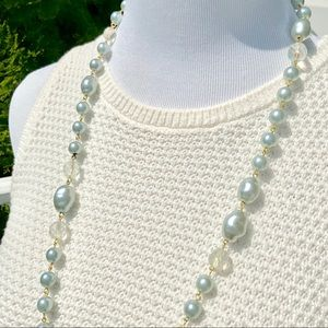 Faux Pearl Necklace in Pale Blue